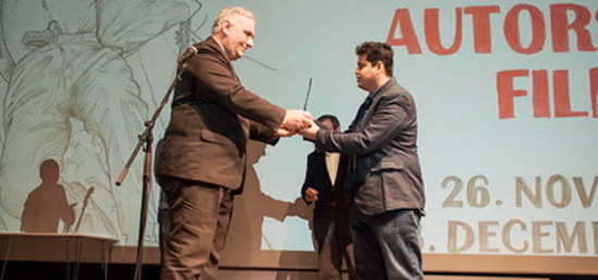 "Director Tamhane receiving ""Aleksandar Sasa Petrovic\"" Award"