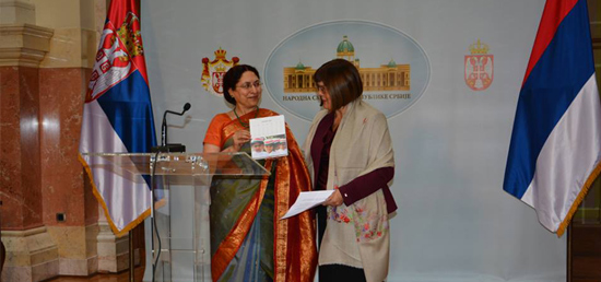 Presentation of Hon'ble Speaker H.E. Ms. Maja Gojkovic an Indian Desk Calendar dedicated to the girl child, and brought out by the Ministry of External Affairs, India