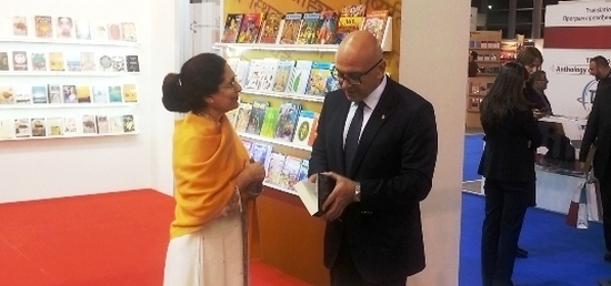 H.E Ambassador and H.E. Mr. Vladan Vukosavljevic Minister of Culture & Information  at the inauguration of the Indian Pavilion during the 61st International Belgrade Book Fair 2016