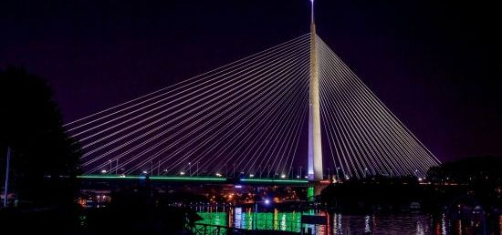 Celebration of India's Independence Day,Ada bridge in Belgrade illuminated in  the colors of the Indian flag