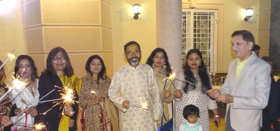 'Diwali' celebrations at Embassy of India, Belgrade - Ambassador S. Bhattacharjee with Indian community (10.11.2018)